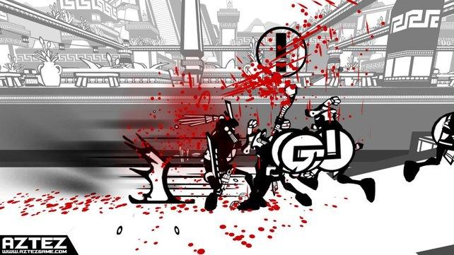 In Aztez bringt das Blut eurer Feinde Farbe ins Spiel.