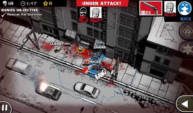 In zerstörten Straßenzügen und Gassen stöbert ihr Zombies auf und macht ihnen den Garaus.