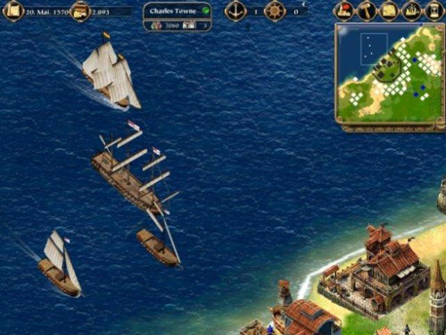 Schiffe legen im Hafen an