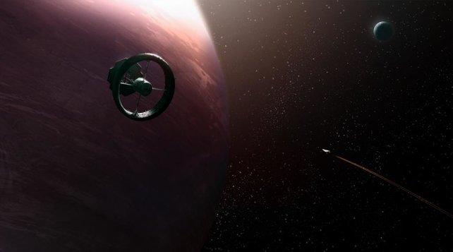 In der Umlaufbahn der Planeten findet ihr Raumstationen, in denen ihr mit Waren handelt.