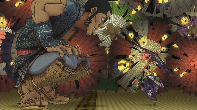 Besessene Regenschirme machen dem Samurai das Leben schwer.