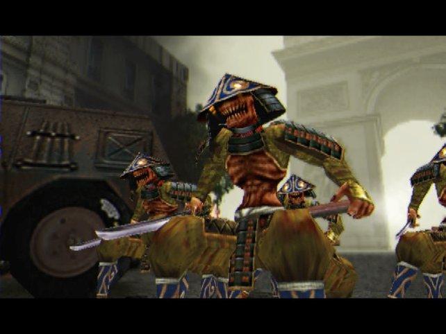 Dämonen vor dem Arc de Triomphe (Onimusha 3).
