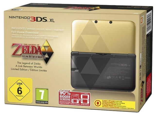 Die schwarz-goldene Version des 3DS XL mit Triforce-Symbol.