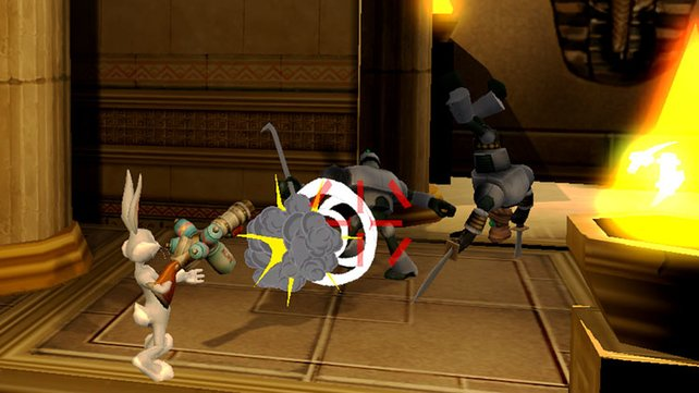 Bugs Bunny hält sich die Feinde mit einer Waffe vom Hals.