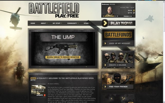 Über die Website erstellt ihr eure Soldaten und ladet den Spielclienten herunter - kostenlos.