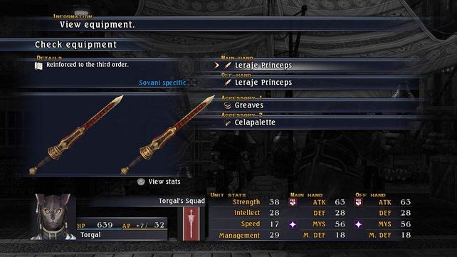 Im Ausrüstungsmenü: Katzenmenschen tragen bis zu vier Waffen.