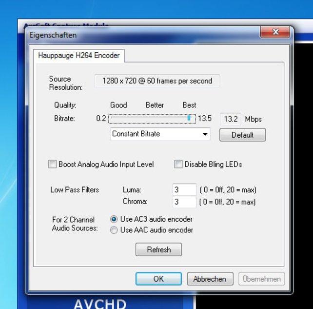 Hohe Bitrate = hohe Bildqualität. Passt aber auf, dass euer Rechner die HD-Aufnahme noch schafft.
