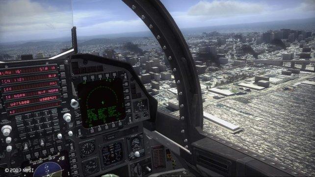 Ein Blick aus dem Cockpit auf die Hauptstadt.