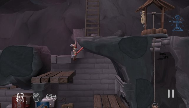 Wo geht es weiter? Die Höhle stellt viele Rätselaufgaben für die drei Helden.