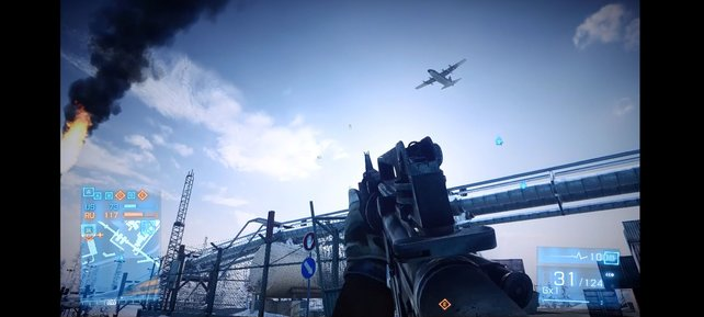 """Das """"Dropship"""" kreist über dem Schlachtfeld und dient als Einstiegspunkt."""