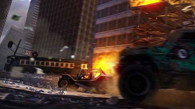 Zu viel Boost setzt euren Wagen in Brand.
