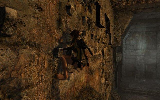 An solchen Mauern kann Lara nun auch entlangkraxeln.