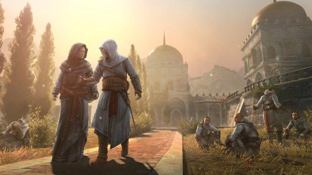 Auch Altair ist in Revelations spielbar. Hier spaziert er mit Maria Thorpe, einst ein Feind von ihm.