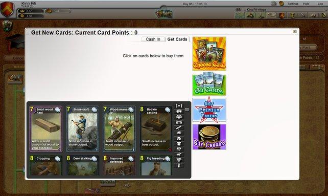 Über dieses Menü wählt, kauft und tauscht ihr die wichtigen Spielkarten.