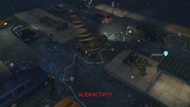 Geräusche, die die Außerirdischen in ihrem Zug verursachen, werden für euch als Richtungsanzeiger dargestellt.