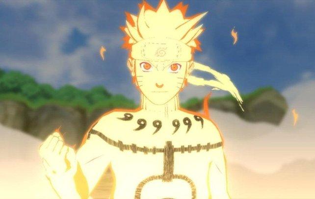 Im erwachten Modus nimmt Naruto seine neunschwänzige Chakra-Gestalt an.