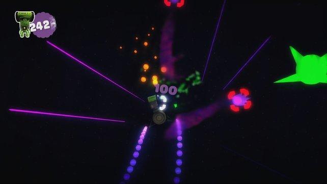Auf Empfehlung von Media Molecule: Diese Neon-Ballerei erinnert an Geometry Wars.