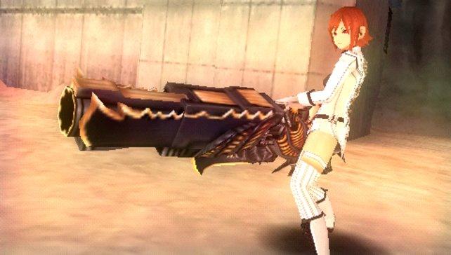 Wie man so eine Waffe hochheben kann? Egal! Hauptsache, sie passt zur Haarfarbe.