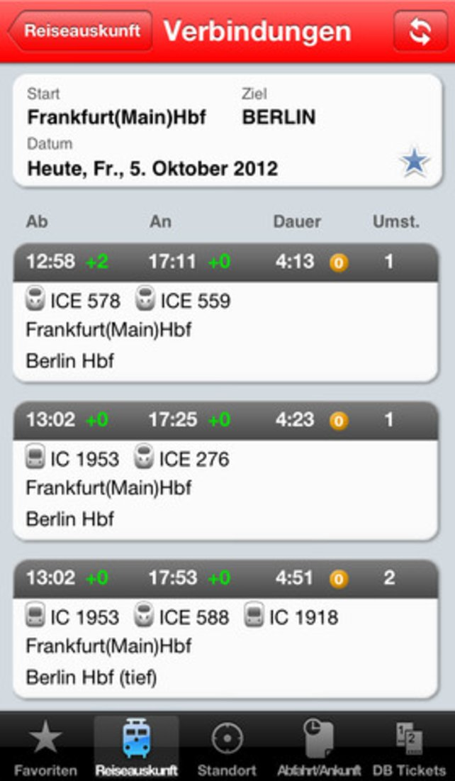 Das Programm schlägt die nächsten Zugverbindungen und Ankunftszeiten übersichtlich vor.