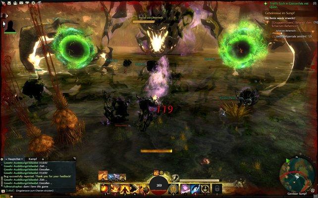 Es geht in Guild Wars 2 teilweise gegen riesige Boss-Gegner.
