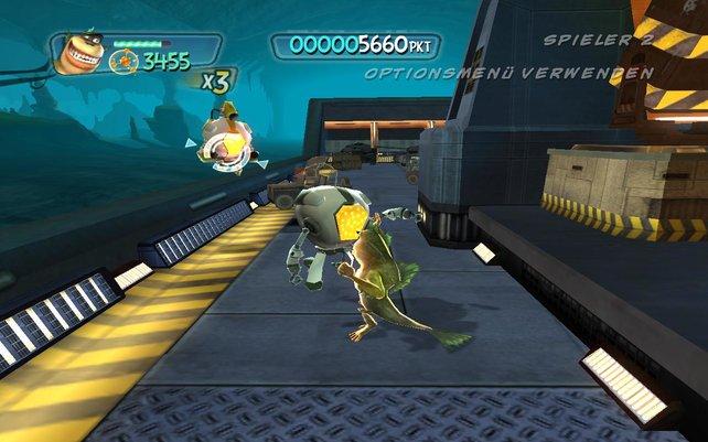 Ein zweiter Spieler kann die Gegner erschießen oder Gegenstände aufsammeln.
