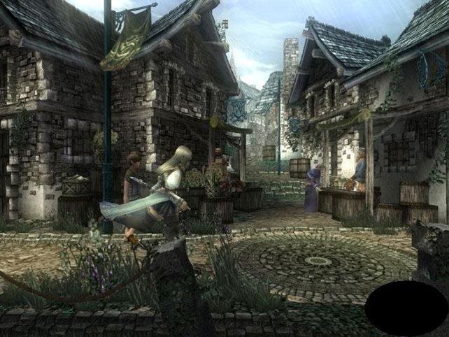 Zweidimensionale Ansicht in einem Dorf