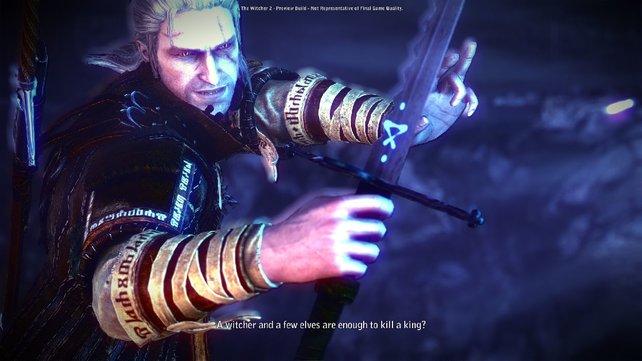 Geralt legt sich auf seinem Abenteuer mit Menschen und Monstern an.