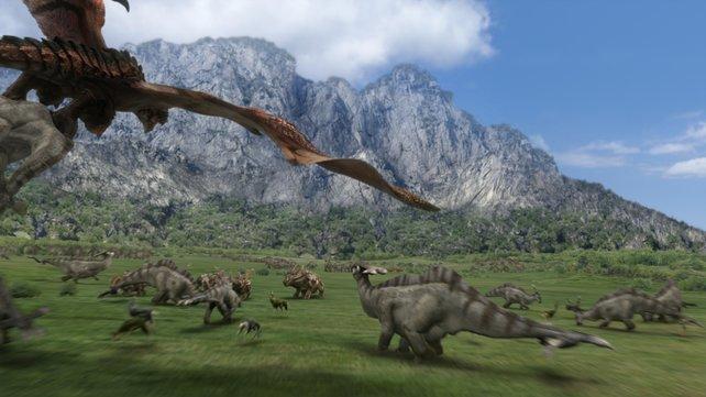 Dinosaurier in der Steinzeit? Warum nicht. So gibt es mehr zu jagen.