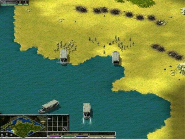 Landungsboote befördern die Infanterie auf eine Insel