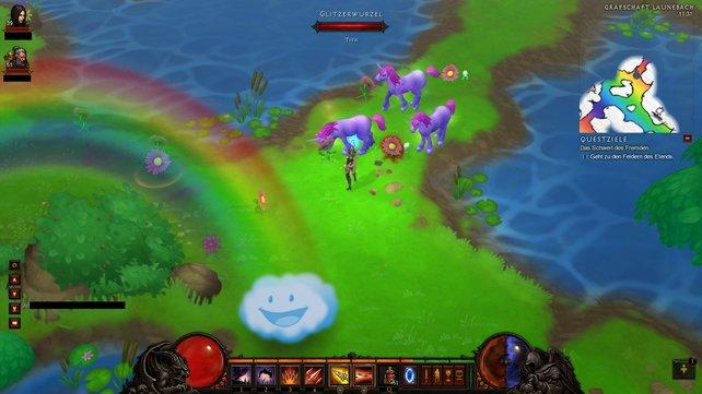 Das Kuh-Level aus Diablo 2 ist zum bunten Pony-Land geworden.