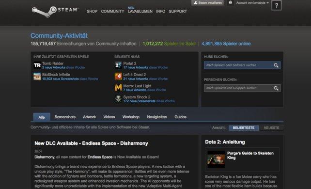 """Unter dem Reiter """"Community"""" könnt ihr alle wichtigsten Neuigkeiten rund um Steam und eure Lieblingsspiele nachlesen – wenn es etwa neue Inhalte oder Aktualisierungen gibt."""