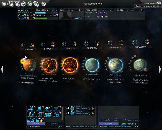 Die Planetensysteme besitzen maximal sechs unterschiedliche Himmelskörper.
