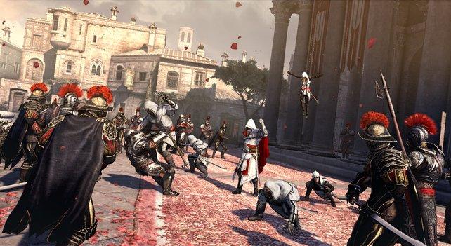Ezio muss nur seine Hand heben und schon erscheint seine Bruderschaft.