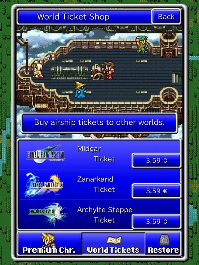 Für jeweils 3,59 Euro bereist das Luftschiff auch Welten neuerer Final-Fantasy-Episoden.