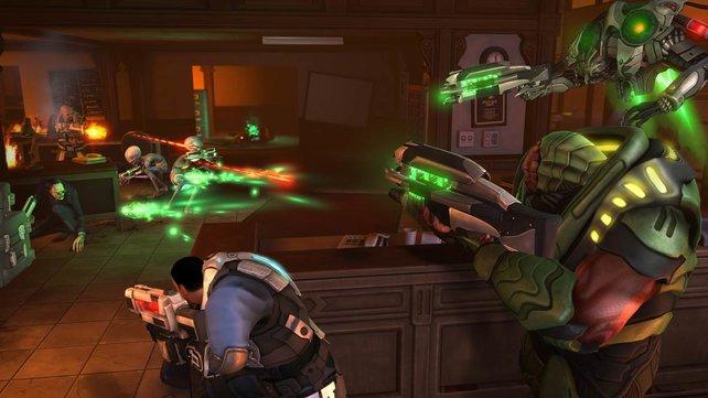 Die Schlacht ist eröffnet: Menschen kämpfen rundenweise gegen die Alien-Invasion.