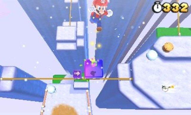 Mario versucht sich neuerdings vermehrt als Seiltänzer und protzt mit dem 3D-Effekt.