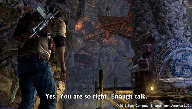 Drake klärt seinen Gegner über die Grafik-Vorzüge der Vita auf. Der weiß anscheinend aber schon Bescheid.