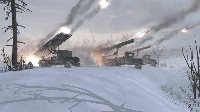 In vollem Kampfeinsatz: Die Artilleriegeschütze Katjuscha - auch als Stalinorgel bekannt.
