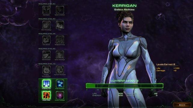 Je höher sie im Level steigt, desto mehr Level stehen Kerrigan zur Verfügung.