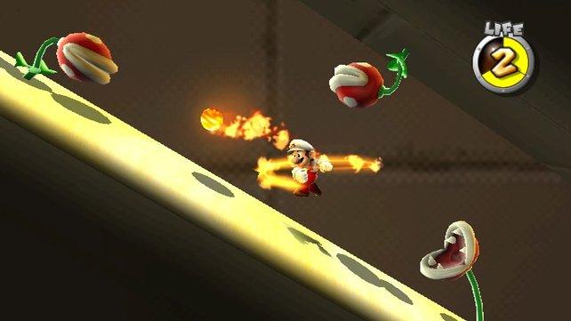 Die Feuerblume lässt Mario Feuerbälle auf die Gegner werfen, leider nur für eine begrenzte Zeit