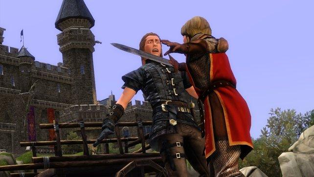 Auf dem Vorhof übt sich die Berufsklasse der Ritter im Schwertkampf.
