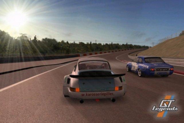 Porsche beim Überholen