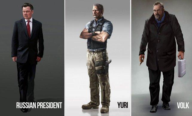 Bei dieser Konzeptzeichnung seht ihr drei wichtige Charaktere im Spiel: Yuri, Volk und den russischen Präsidenten.