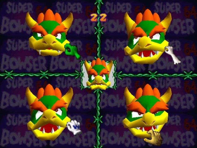 """""""Bowsers Grimassen"""" - eines der ersten 56 Minispiele der Mario-Party-Serie."""