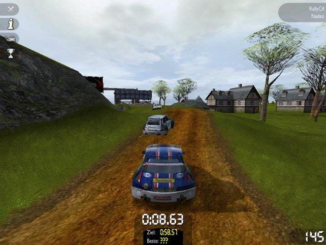 Ich befinde mich auf einer der vorgefertigten Rallystrecken
