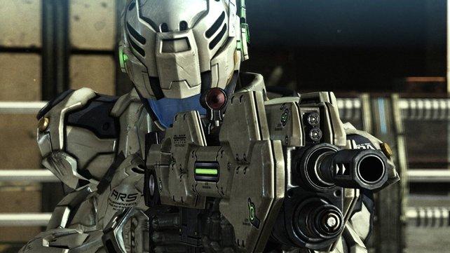 Sams moderner Kampfanzug schrottet jeden noch so großen Mech-Roboter.