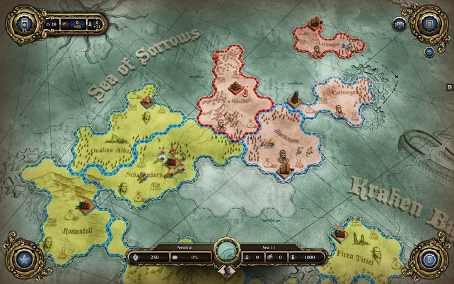 Auf der Strategiekarte verschiebt ihr Truppen und verwaltet euer Reich.
