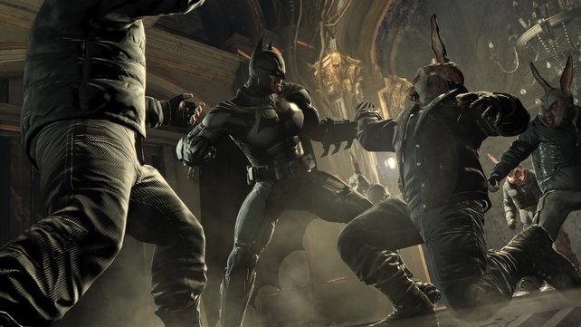 Batman gibt selbst diesen Schlägern mit Hasenmaske eins hinter die Löffel.