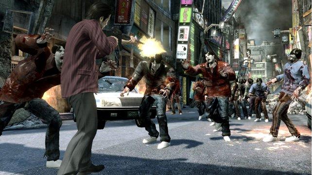 Unerwartetes Szenario: In Kamurocho fallen Zombies ein.