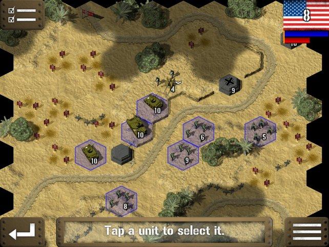 Auf Sechseckfeldern zieht ihr rundenweise eure Armee und trickst den Gegner aus.
